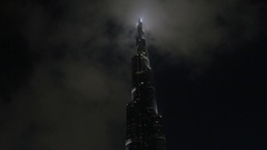 Burj Khalifa at Night Stock Footage