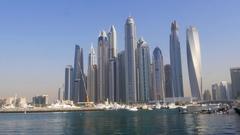 Dubai Marina Skyscrapers Stock Footage