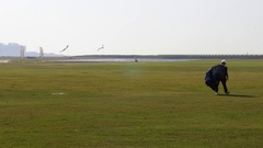 Skydiver with his Parachute Stock Footage