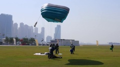 Skydiver Landing on the ground Stock Footage