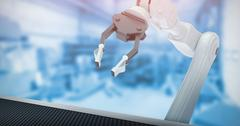 Composite image of metallic claw of robotic hand 3d Stock Illustration