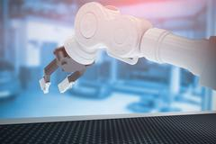 Composite image of closeup of metal claw of robotic hand 3d Stock Illustration