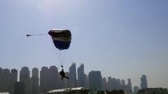 Skydiver Landing 2 Stock Footage