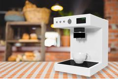 Composite image of coffee maker machine in white 3d Stock Illustration