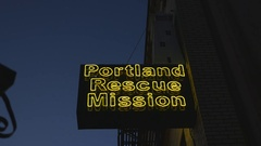 Flashing lighthouse sign. Portland Rescue Mission, Portland, OR. Stock Footage