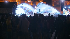Big crowd waiting for the concert at stage Stock Footage