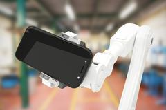 Composite image of composite image of robot holding digital tablet 3d Stock Illustration