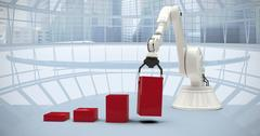 Composite image of composite image of robot arranging red toy blocks into bar Stock Illustration