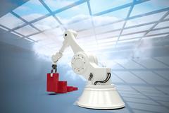 Composite image of digital generated image of robot arranging red toy blocks Stock Illustration