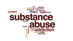 Substance abuse animated word cloud, text design animation. Stock Footage