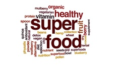Superfood animated word cloud, text design animation. Stock Footage