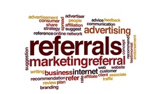 Referrals animated word cloud, text design animation. Stock Footage
