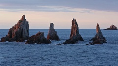 Sharp Islets at Evening (Asturias, Spain). Stock Footage