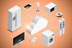 Composite image of computer graphic image of cloud and home appliances icon 3d Stock Illustration