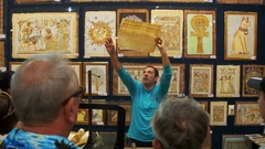 Demonstration of Papyrus in the Egyptian Shop for Tourists Stock Footage