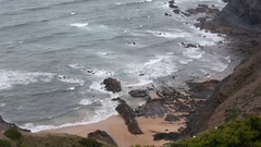 Atlantic Rocky Coast, Algarve, Portugal. Stock Footage