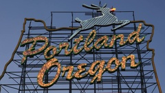 Portland sign with red nose on deer for Christmas. Portland, OR. Stock Footage