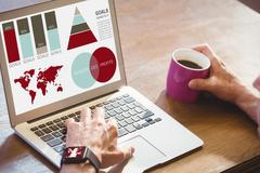 Composite image of vector image of business presentation with charts and map Stock Photos