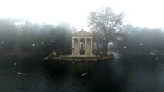 Villa Borghese, Rome. The drone is moving away from it. Stock Footage