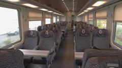 Interior of modern train wagon. Stock Footage