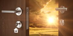 Composite image of digitally generated image of brown door with key Stock Illustration