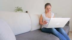Beautiful young woman received parcel that she ordered online Stock Footage