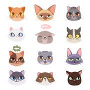 Cats vector heads illustration Stock Illustration