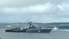 SEVEROMORSK, RUSSIA. Day of the Navy. Small anti-submarine ship. Stock Footage