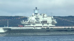 "RUSSIA. Day of the Navy. The aircraft carrier ""Admiral Kuznetsov"", close-up. Stock Footage"