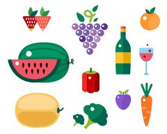 Set of colorful cartoon fruit and vegetables icons vector illustration Stock Illustration