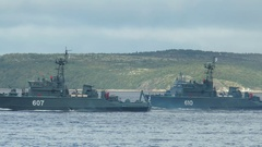 SEVEROMORSK, RUSSIA. Day of the Navy. At Bay swims minesweepers. Stock Footage