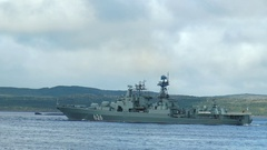 SEVEROMORSK, RUSSIA. Military holiday. Floats a large anti-submarine ship. Stock Footage