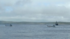 SEVEROMORSK, RUSSIA. Day of the Navy. Landing boats swim to shore. Stock Footage