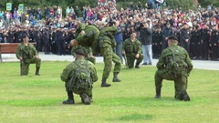 Severomorsk, RUSSIA. Day of the Navy. Marines show methods of struggle. Stock Footage
