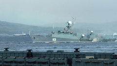 SEVEROMORSK, RUSSIA. Day of the Navy. Floats small anti-submarine ship. Stock Footage
