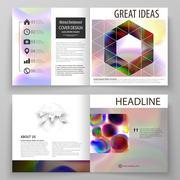 Business templates for square bi fold brochure, magazine, flyer, booklet or Stock Illustration