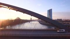 Frankfurt ECB Aerial along Osthafenbrücke Stock Footage