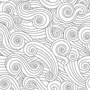 Sea curly wave seamless pattern isolated on white background Stock Illustration