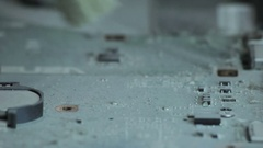 Cleaning the dust from motherboard Stock Footage