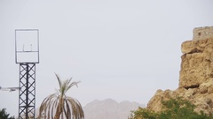 Passenger Plane in the Sky Landing on the Background of Mountains and Palm Trees Stock Footage