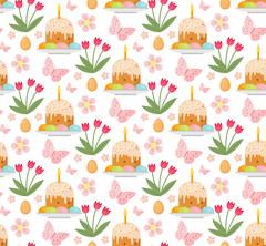 Easter seamless pattern with cake, eggs and tulips. Endless Spring backgrou.. Stock Illustration