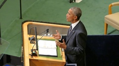 US President Barack Obama holds a speech at the General Debate of the GAUN Stock Footage