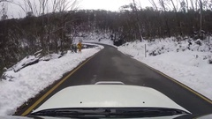 Driving through Snowy Mountains of Australia Stock Footage