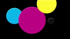 Colorful dots in cmyk colors moving. Stock Footage