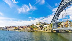 Porto old town and Douro river, Portugal Stock Footage