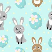 Cute Easter seamless pattern with rabbit and eggs, endless backdrop. Holida.. Stock Illustration