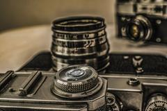 Old Russian analog film cameras with manual controls Stock Photos