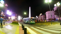 Nightly traffic around the Obelisco in Buenos Aires Stock Footage