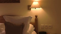 Bed with pillows. A suite in hotel. Stock Footage
