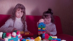 Kids playing with constructor. Stock Footage